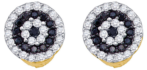 0.26CT Black/White Diamond 10K Yellow Gold Earrings: