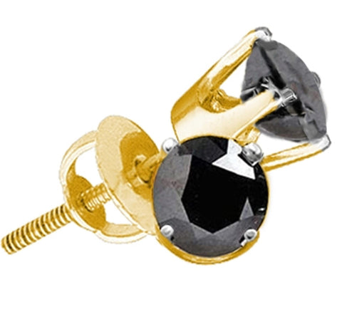 1.50CT Black/White Diamond 14K Yellow Gold Round Studs Earrings: