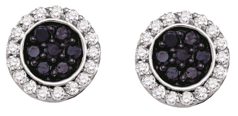 1.00CT Black/White Diamond 10K White Gold Micro Pave Earrings: