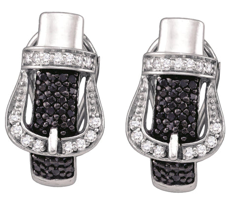 0.61CT Black/White Diamond 925 Sterling Silver Micro Pave Earrings:
