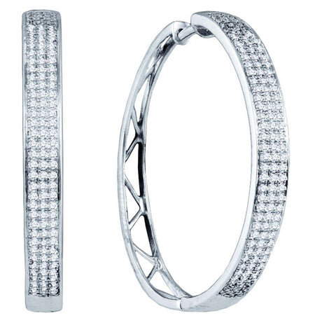 0.8CT Diamond 10K White Gold Micro Pave Hoop Earrings: