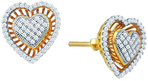 0.3CT Diamond 10K Yellow Gold Pave Heart Earrings: