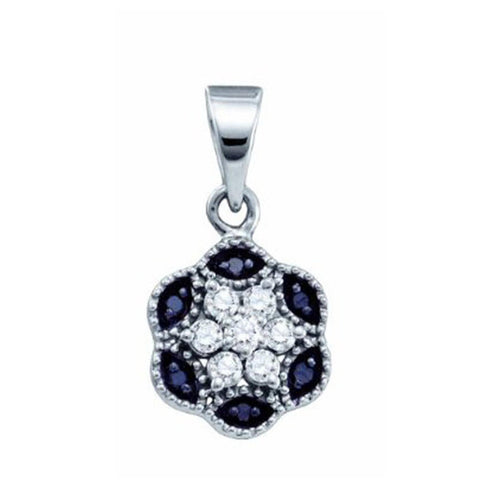 0.2CT Black/White Diamond 10K White Gold Flower Cluster Pendant: