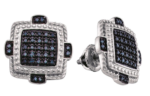 0.40CT Black/White Diamond 925 Sterling Silver Micro Pave Earrings:
