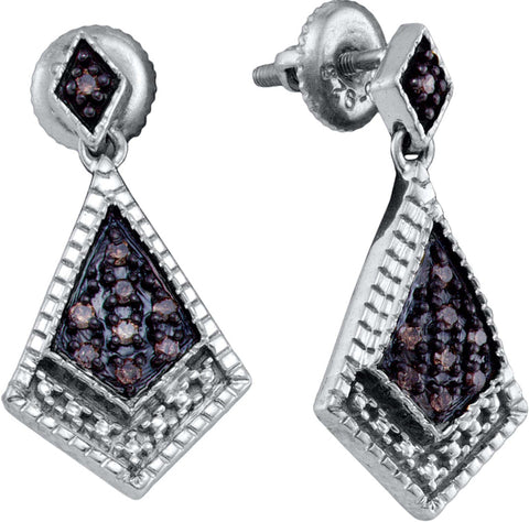 0.19CT Chocolate Brown/White Diamond 925 Sterling Silver Micro Pave Earrings: