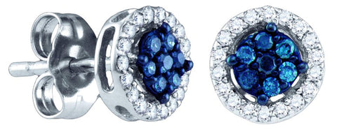 0.249CT Blue/White Diamond 10K White Gold Earrings: