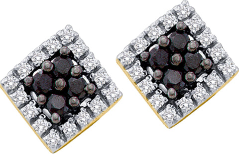 0.25CT Black/White Diamond 14K Yellow Gold Earrings: