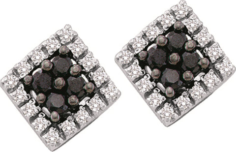 0.25CT Black/White Diamond 14K White Gold Earrings: