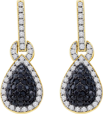 1.80CT Black/White Diamond 14K Yellow Gold Earrings: