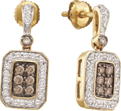 0.498CT Chocolate Brown/White Diamond 10K Yellow Gold Earrings: