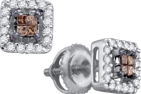 0.30CT Chocolate Brown/White Diamond 14K White Gold Invisible Earrings: