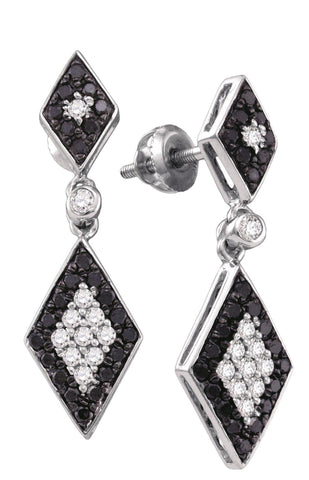 0.64CT Black/White Diamond 10K White Gold Earrings: