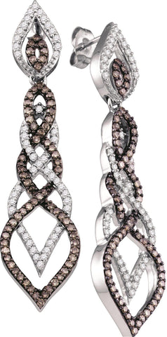 1.50CT Chocolate Brown/White Diamond 10K White Gold Earrings:
