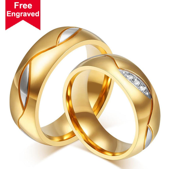 Wedding Rings Men Gifts Stainless Steel High Polished Gold Size 5-13