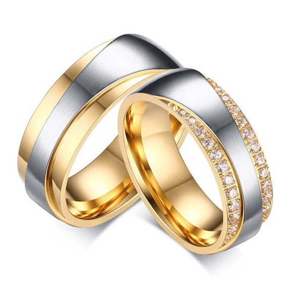 Men Rings Gold Wedding Ring Stainless Steel Well Polished Gold Silver
