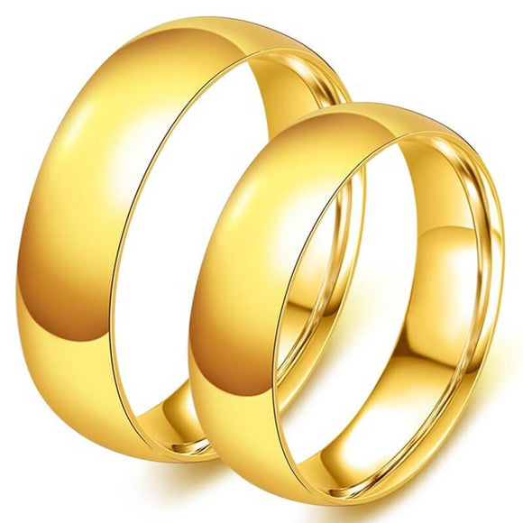 Men Rings Stainless Steel Wedding Gifts High Polished Gold Size 4-15