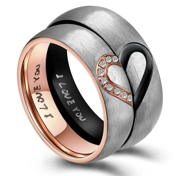 His and Her Wedding Rings Set Half Heart Engagement Rings Stainless Steel Rose Gold Black