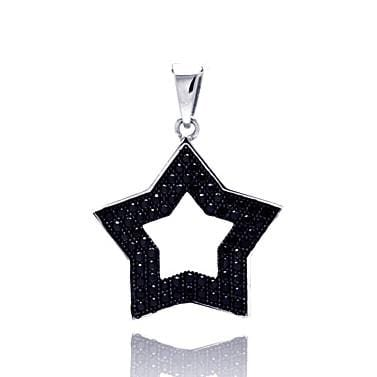 .925 Sterling Silver Black Rhodium Plated Open Star Micro Pave Cubic Zirconia Pendant - AnaDx Collection