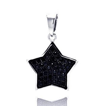 .925 Sterling Silver Black Rhodium Plated Star Cubic Zirconia Dangling Pendant - AnaDx Collection