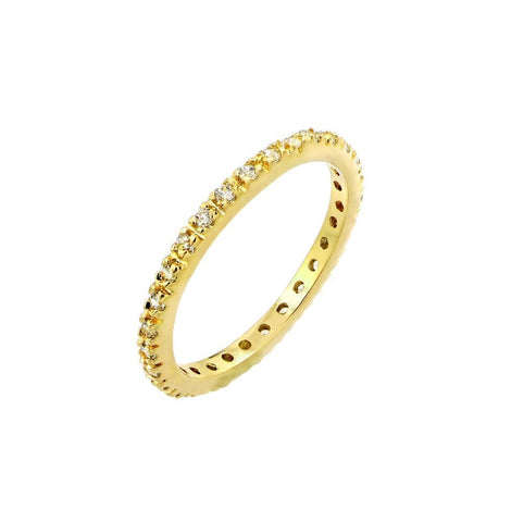 .925 Sterling Silver Gold Plated Plated Clear Cubic Zirconia Inlay Eternity Ring