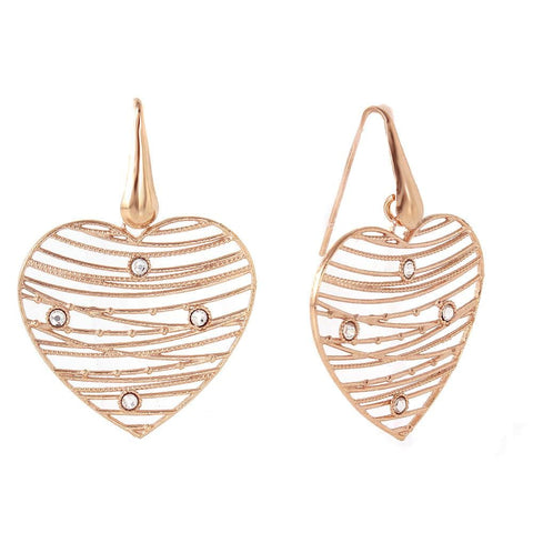 .925 .925 Sterling Silver Rose Gold Plated Open Web Heart Earring - AnaDx Collection