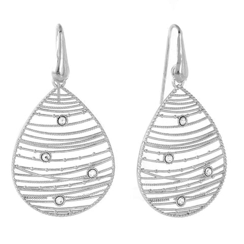 .925 .925 Sterling Silver Rhodium Plated Open Web Drop Earring - AnaDx Collection