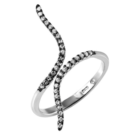 .925 Sterling Silver Black Rhodium and Rhodium Plated Graph Black Rhodium Ring - AnaDx Collection