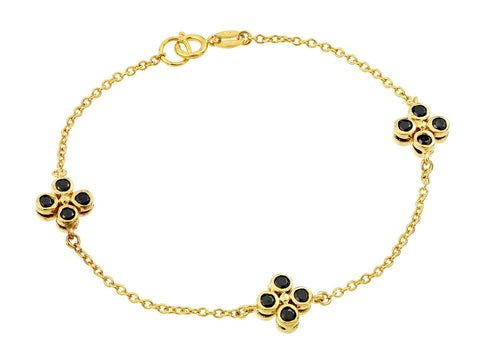 .925 Sterling Silver Gold Plated Three Flower Black Cubic Zirconia Inlay Bracelet: SOD