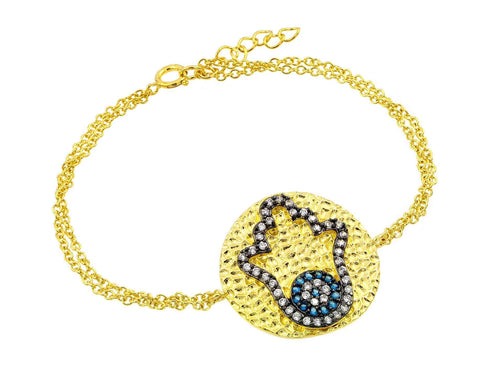 .925 Sterling Silver Gold Plated Circle Hamsa Black Evil Eye Cubic Zirconia Outline Bracelet: SOD