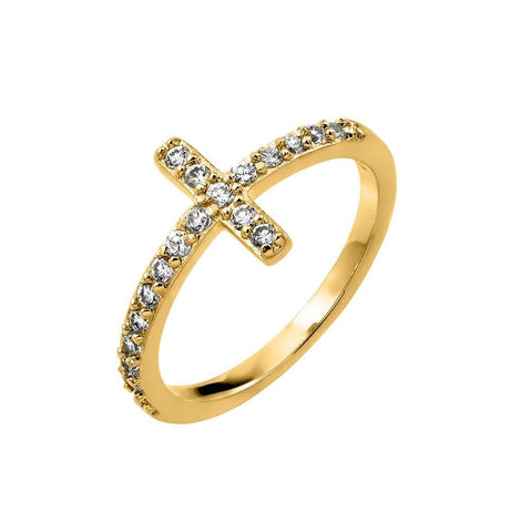 .925 Sterling Silver Gold Plated Clear Inlay Cubic Zirconia Cross Ring