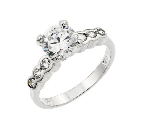.925 Sterling Silver  Sterling Silver Rhodium Plated Clear Round Center Cubic Zirconia Bridal Ring - AnaDx Collection