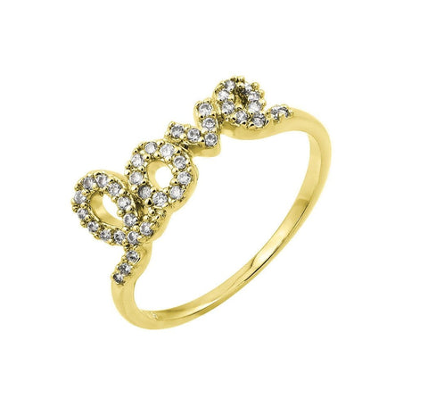 .925 Sterling Silver  Sterling Silver Gold Plated Clear Cubic Zirconia Love Ring - AnaDx Collection