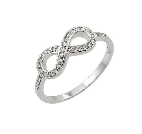 .925 Sterling Silver Jewelry  Sterling Silver Rhodium Plated Clear Cubic Zirconia Infinity Ring
