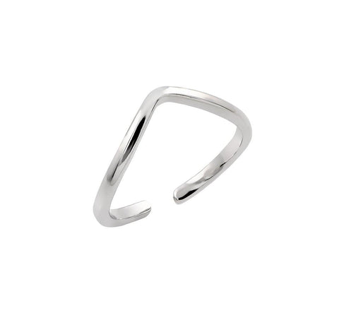 .925 Sterling Silver Jewelry  Sterling Silver Rhodium Plated Open End Ring