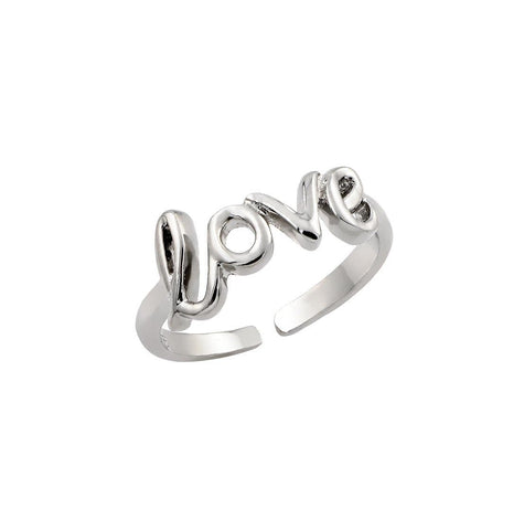 .925 Sterling Silver Jewelry  Sterling Silver Rhodium Plated Love Ring