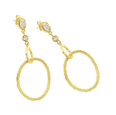 .925 Sterling Silver Gold Rhodium Plated  Round Oval  Clear Cubic Zirconia Dangling Stud Earring: SOD