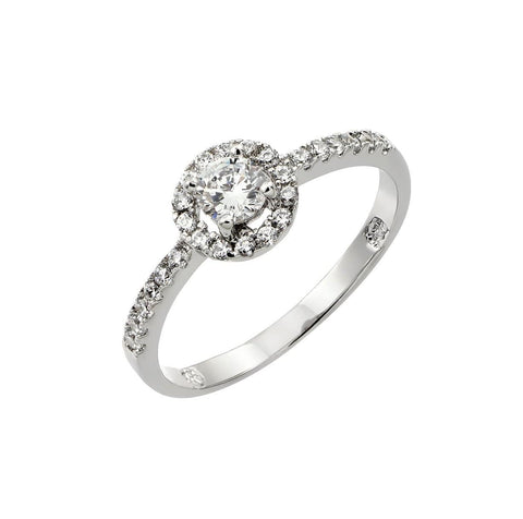 .925 Sterling Silver Jewelry  Sterling Silver Rhodium Plated Clear Round Cubic Zirconia Bridal Ring