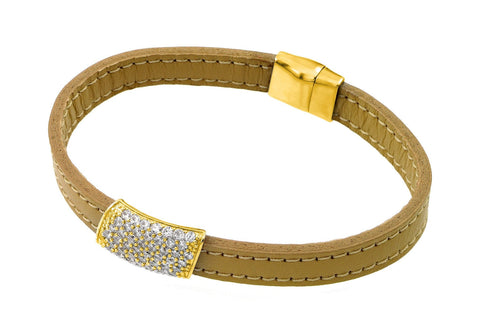 .925 Sterling Silver Gold Plated Clear Cubic Zirconia Inlay Yellow Leather Bracelet: SOD