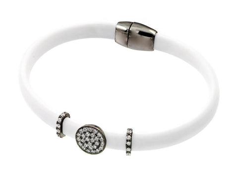 .925 Sterling Silver Black Rhodium Plated Clear Micro Pave Cubic Zirconia White Leather Bracelet - AnaDx Collection