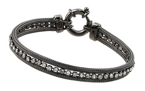 .925 Sterling Silver Black Rhodium Plated Clear Multiple Square Cubic Zirconia Bracelet - AnaDx Collection