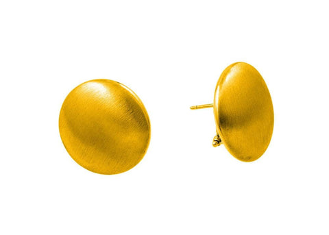 .925 Sterling Silver Gold Plated Flat Round Stud Earrings: SOD