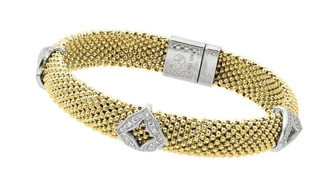 .925 Sterling Silver Gold Plated Micro Pave Diagonal Square Clear Cubic Zirconia Beaded Italian Bracelet: SOD