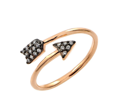 .925 Sterling Silver Black Rhodium   Gold Plated 2 Toned Clear Cubic Zirconia Arrow Ring - AnaDx Collection