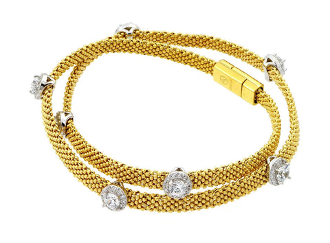 .925 Sterling Silver Gold Plated Round Clear Cubic Zirconia Double Wrap Beaded Italian Bracelet: SOD