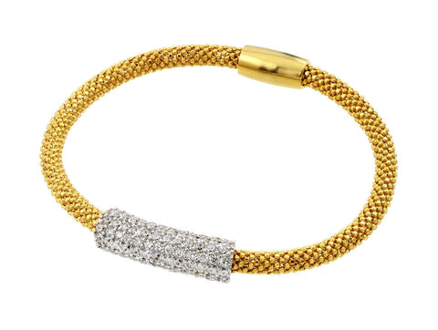 .925 Sterling Silver Gold Plated Pave Set Clear Cubic Zirconia Beaded Italian Bracelet: SOD