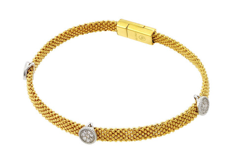 .925 Sterling Silver Gold Plated Round Clear Cubic Zirconia Beaded Italian Bracelet: SOD