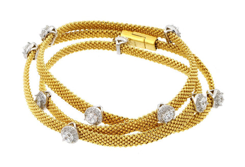 .925 Sterling Silver Gold Plated Clear Cubic Zirconia Double Wrap Beaded Italian Bracelet: SOD
