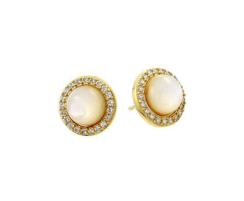 .925 Sterling Silver Gold Plated Round Cubic Zirconia Outline Center Pearl Stud Earring: SOD