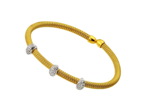 .925 Sterling Silver Gold &  Silver Plated Micro Pave Clear Cubic Zirconia Bracelet - AnaDx Collection