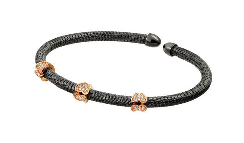 .925 Sterling Silver Black Rhodium &  Rose Gold Plated Micro Pave Clear Cubic Zirconia Bracelet - AnaDx Collection